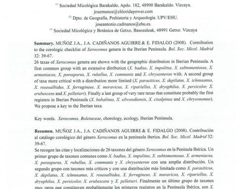 2008  – Contribución al Catálogo Corológico Xerocomus en la Peninsula Ibérica